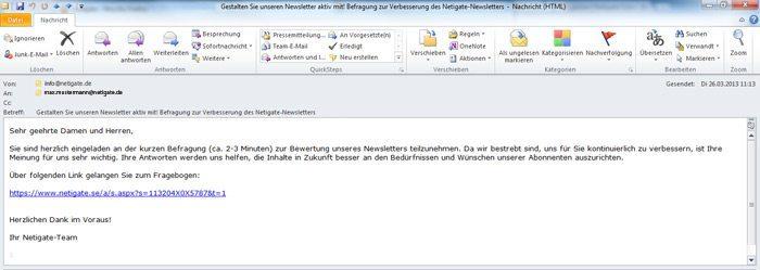 Beispiel eines Einladungstexts für eine Email Umfrage