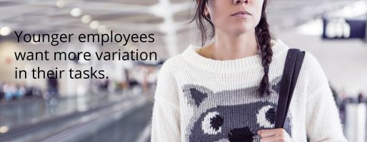 Variation in tasks is important for young employees according to employee surveys