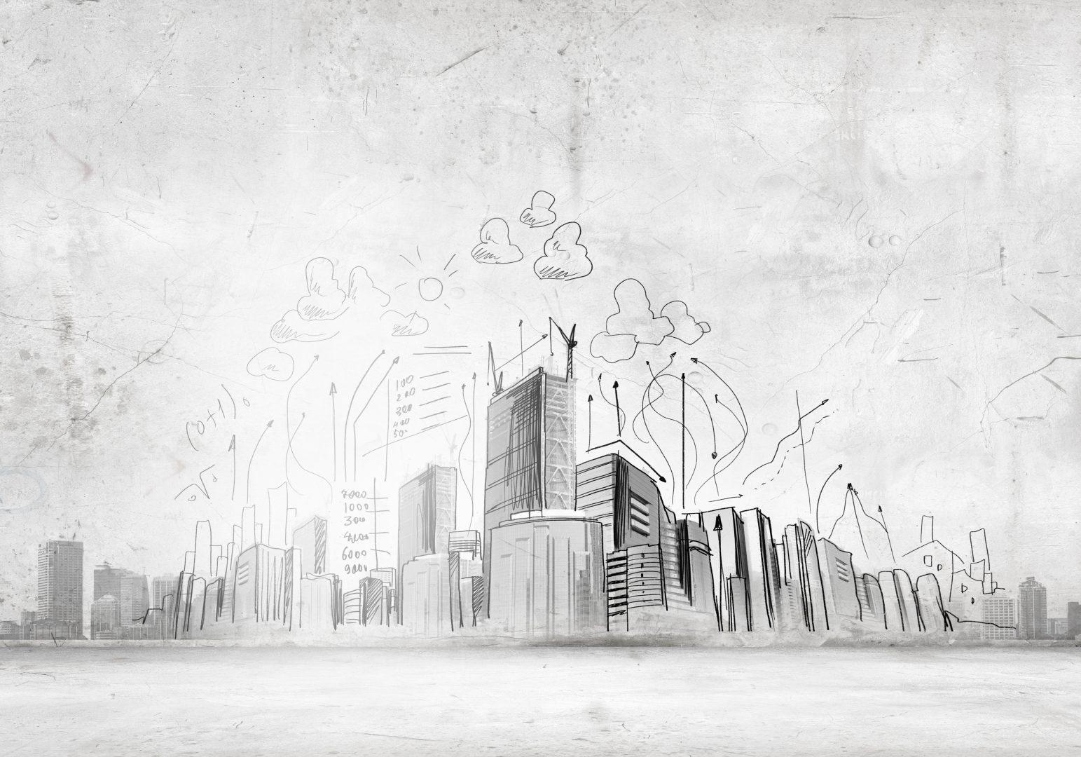 A sketch over a city where companies balance growth and profitability