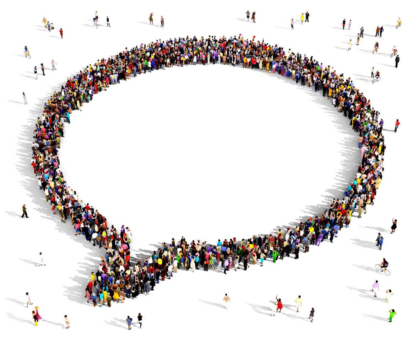 Gruppe mennesker i form av en snakkeboble