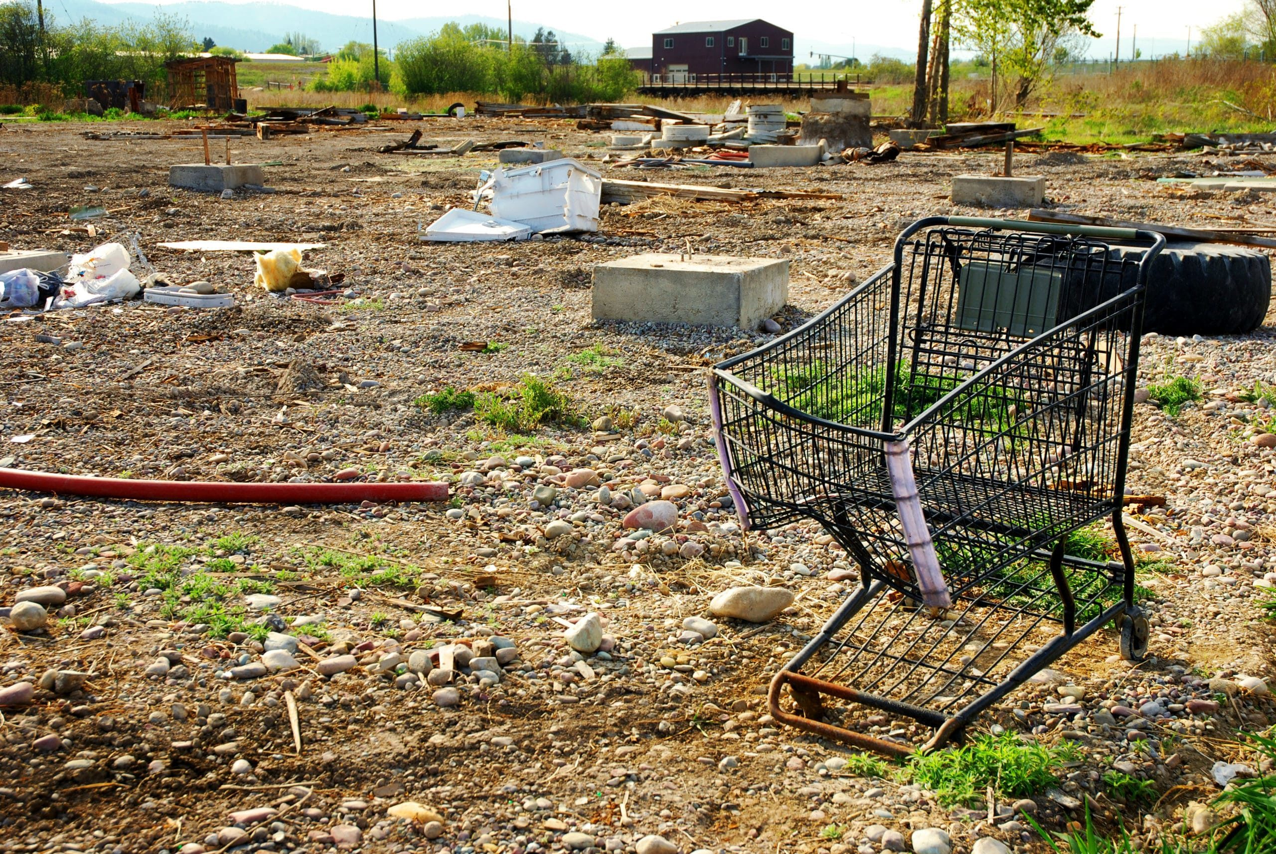 an abandoned shopping cart after a customer who left a business
