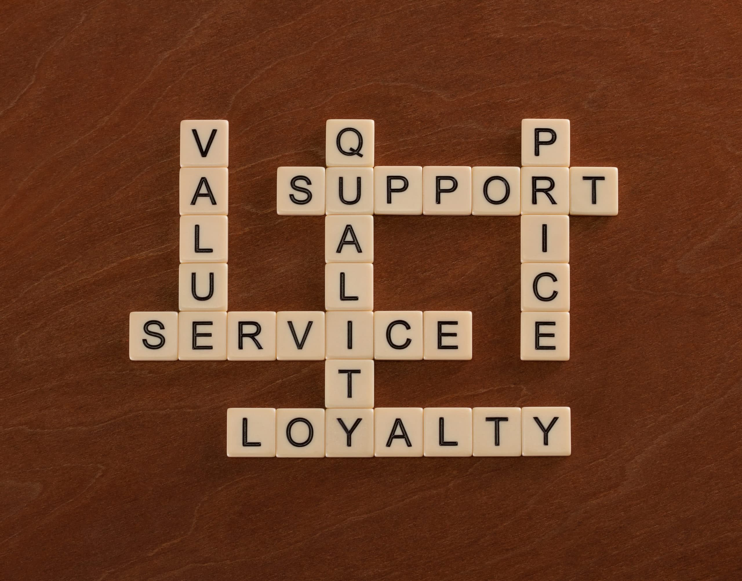 alphabet bricks spelling Value, Service, quality, support, price and loyalty