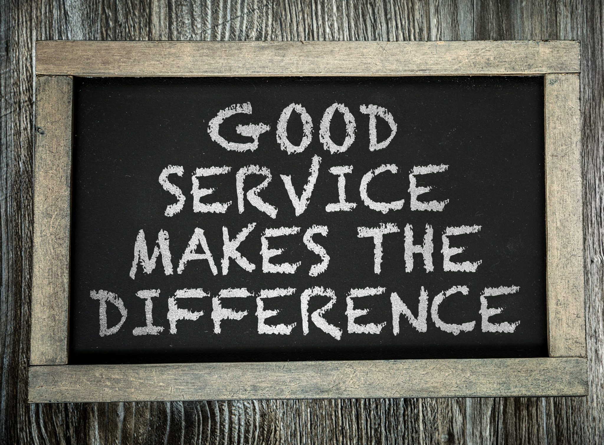 Good service makes the difference sign