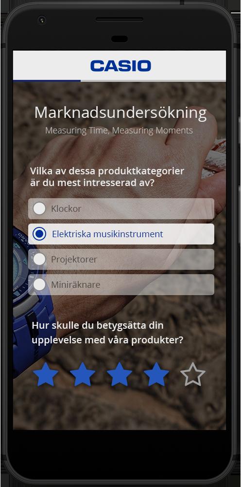 Netigate - responsiva marknadsundersökningar i mobilen exempel av Casio