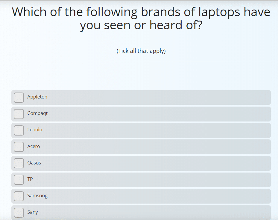 Sample question from a brand awareness survey