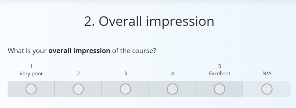 Sample question from a course evaluation survey