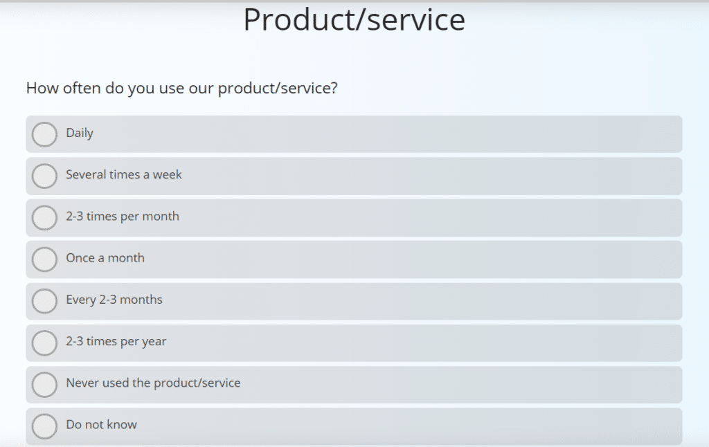 Sample question of a customer satisfaction survey in B2B context