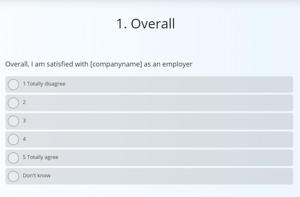 Sample question from the employee engagement survey