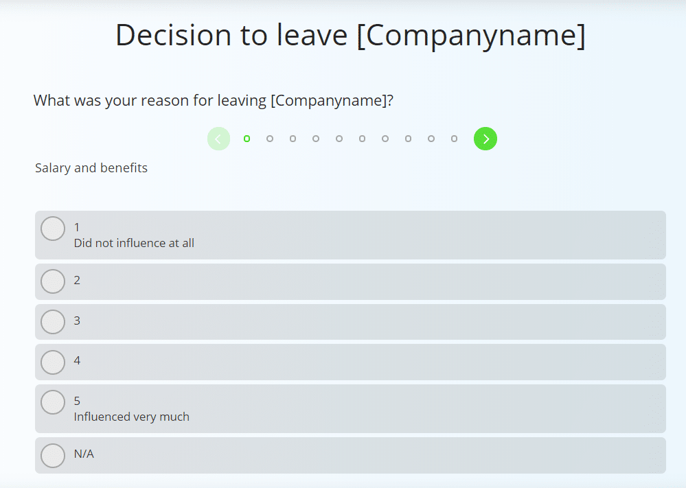 Sample question from the employee exit survey