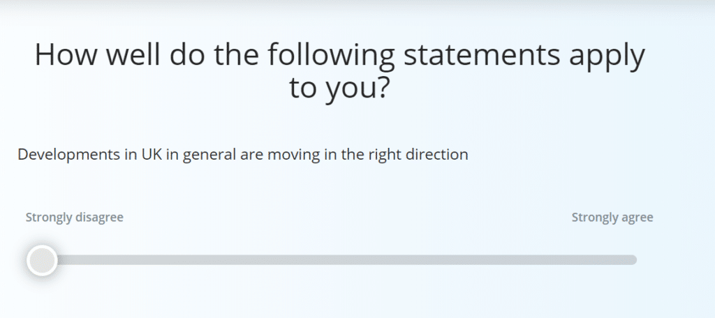 Sample question from a political opinion poll