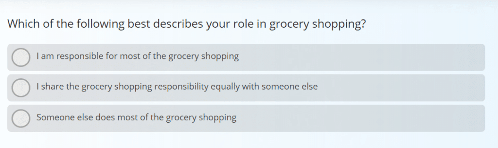 Sample question from a product concept test survey