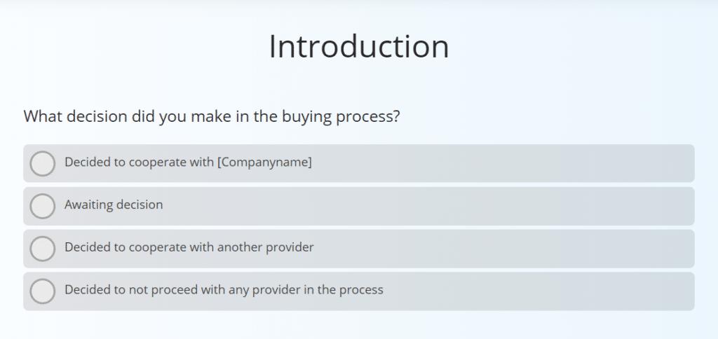 win/loss survey sample