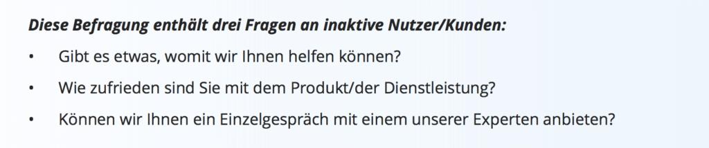 Churn Management Fragebogen-Vorlage