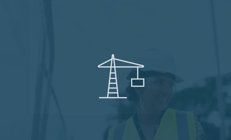 construction logo with background image
